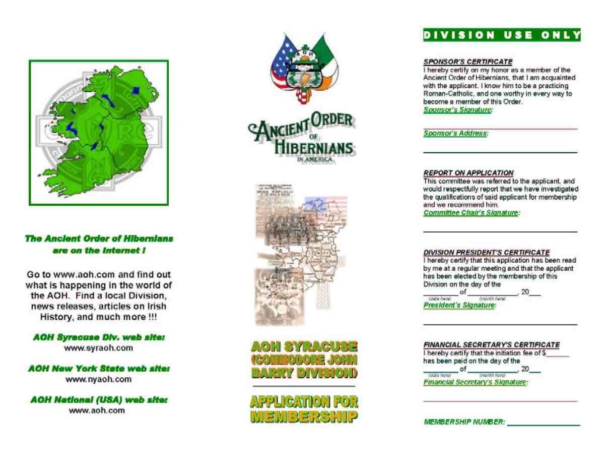 Syracuse aoh division hibernian herald monthly newsletter aoh membership application aiddatafo Gallery